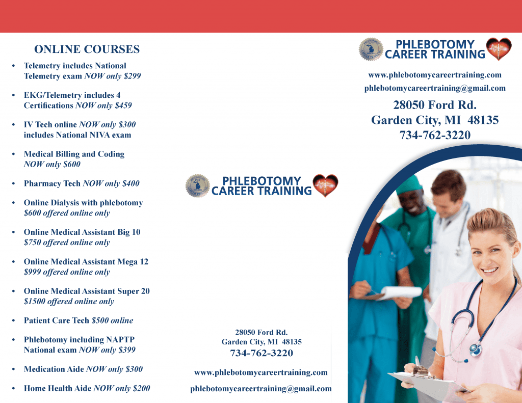 Brochure Of Classes And New Class Offerings Phlebotomy Career Training